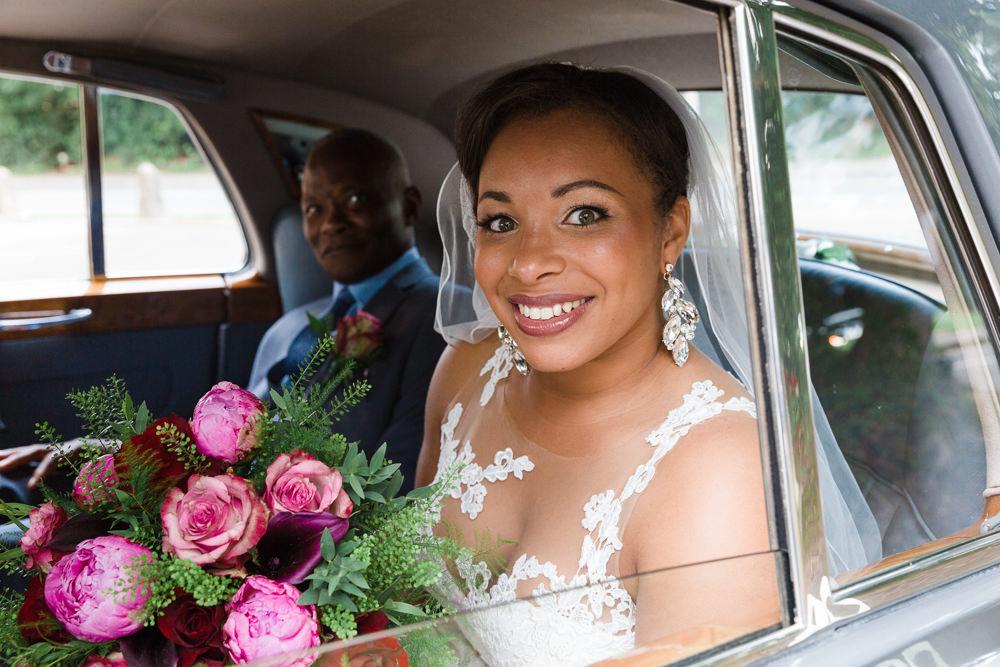 Bride Bridal La Sposa Fit & Flare Lace Dress Gown Floor Length Veil Pink Red Bouquet Stoke Place Wedding Hannah McClune Photography