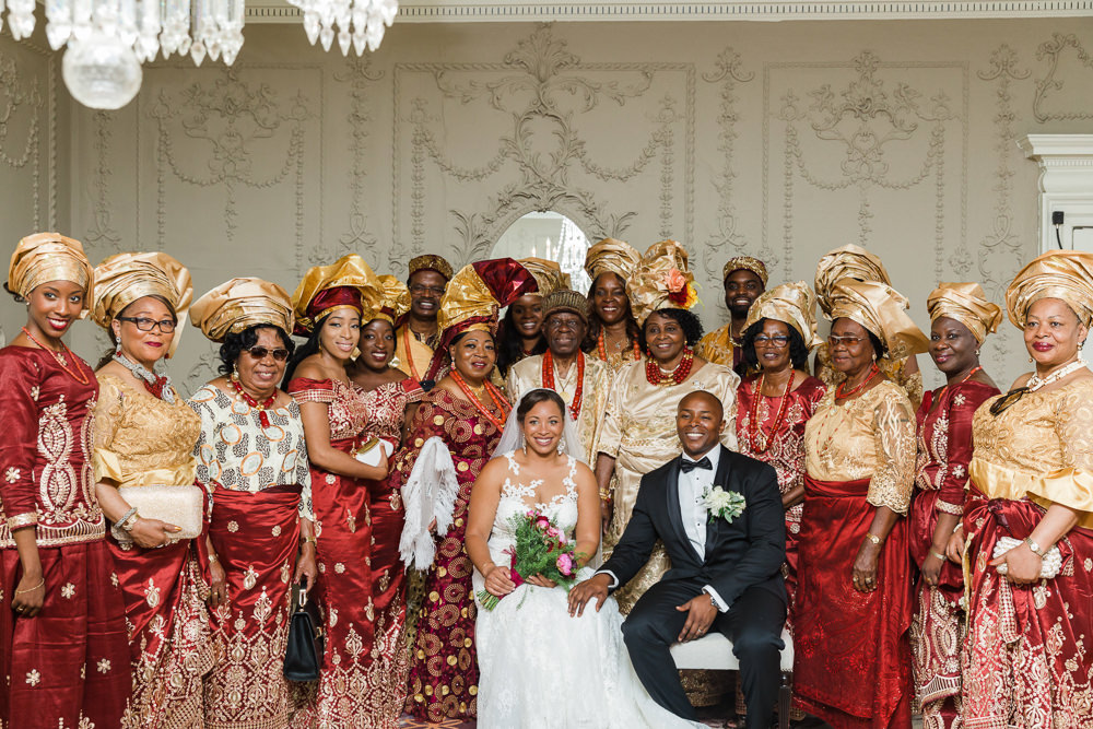 Bride Bridal La Sposa Fit & Flare Lace Dress Gown Floor Length Veil Pink Red Bouquet Hugo Boss Tuxedo Groom Traditional Nigerian Red Gold Stoke Place Wedding Hannah McClune Photography