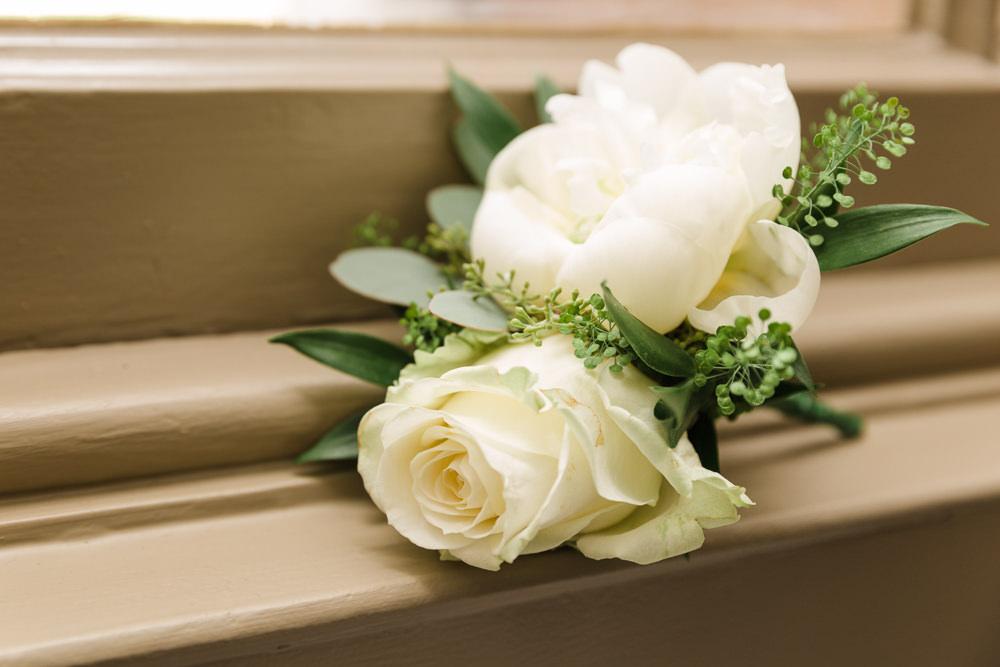 White Rose Peony Buttonhole Stoke Place Wedding Hannah McClune Photography