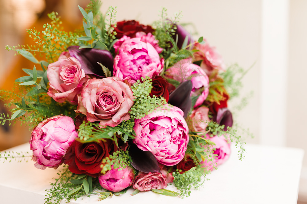 Pink Red Peony Rose Bouquet Bride Bridal Stoke Place Wedding Hannah McClune Photography