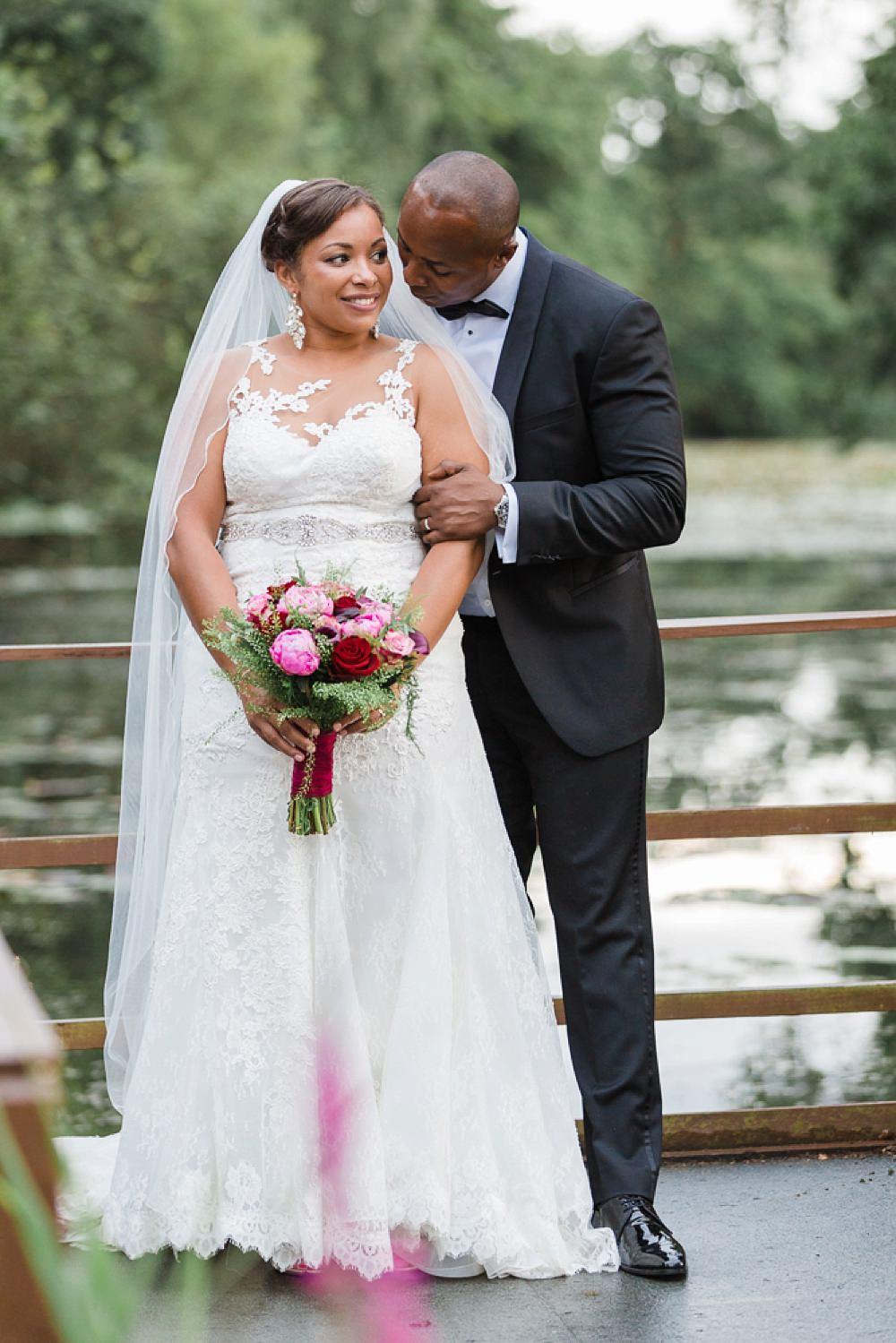 Bride Bridal La Sposa Fit & Flare Lace Dress Gown Floor Length Veil Pink Red Bouquet Hugo Boss Tuxedo Groom Stoke Place Wedding Hannah McClune Photography