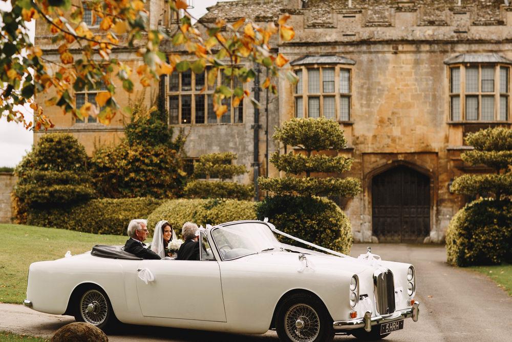Cotswolds Royal Castle Summer Autumn Traditional Classic Elegant Black Tie White Rose Bride Father White Car   Sudeley Castle Wedding ARJ Photography