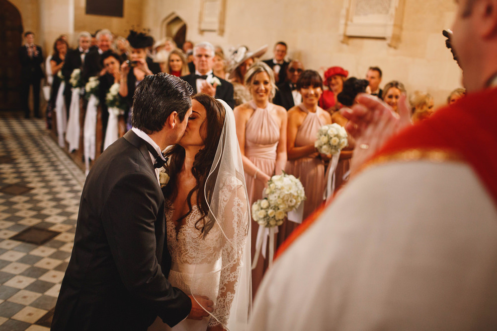 Cotswolds Royal Castle Summer Autumn Traditional Classic Elegant Groom Bride Ceremony Church Vows Kiss   Sudeley Castle Wedding ARJ Photography