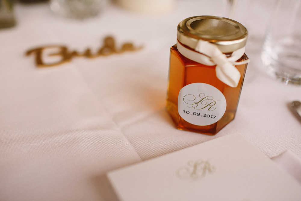 Cotswolds Royal Castle Summer Autumn Traditional Classic Elegant Simple White Decor Mini Honey Favour   Sudeley Castle Wedding ARJ Photography