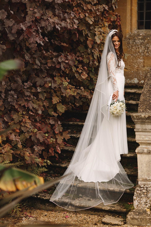 Cotswolds Royal Castle Summer Autumn Traditional Classic Elegant Ivy Bride Long Sleeve Suzanne Neville Veil   Sudeley Castle Wedding ARJ Photography