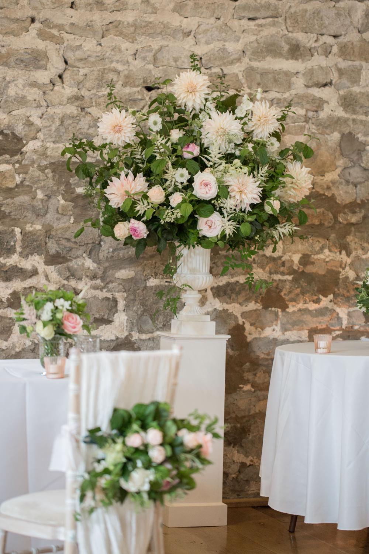 Tall Table Arrangements Centrepiece Flowers Blush Pink White Dahlia Cafe Au Lait Rose Sweet Peas Tythe Barn Priston Mill Wedding Eleanor Jane Photography