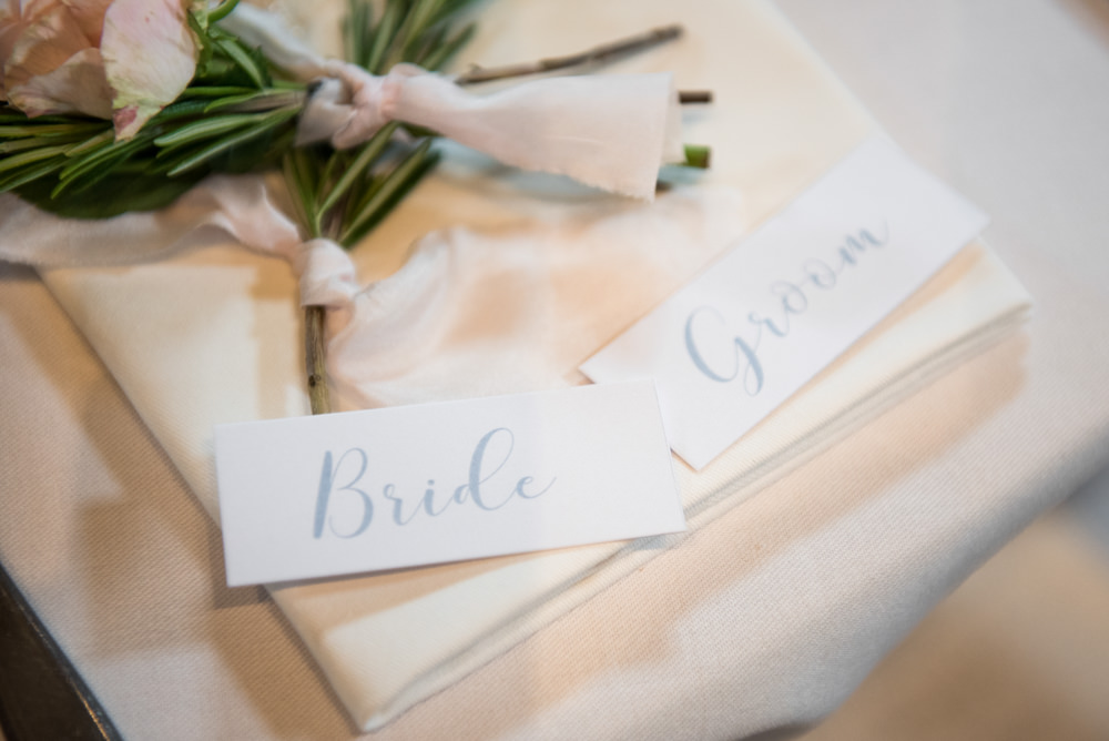 Blue Calligraphy Place Name Card Tythe Barn Priston Mill Wedding Eleanor Jane Photography