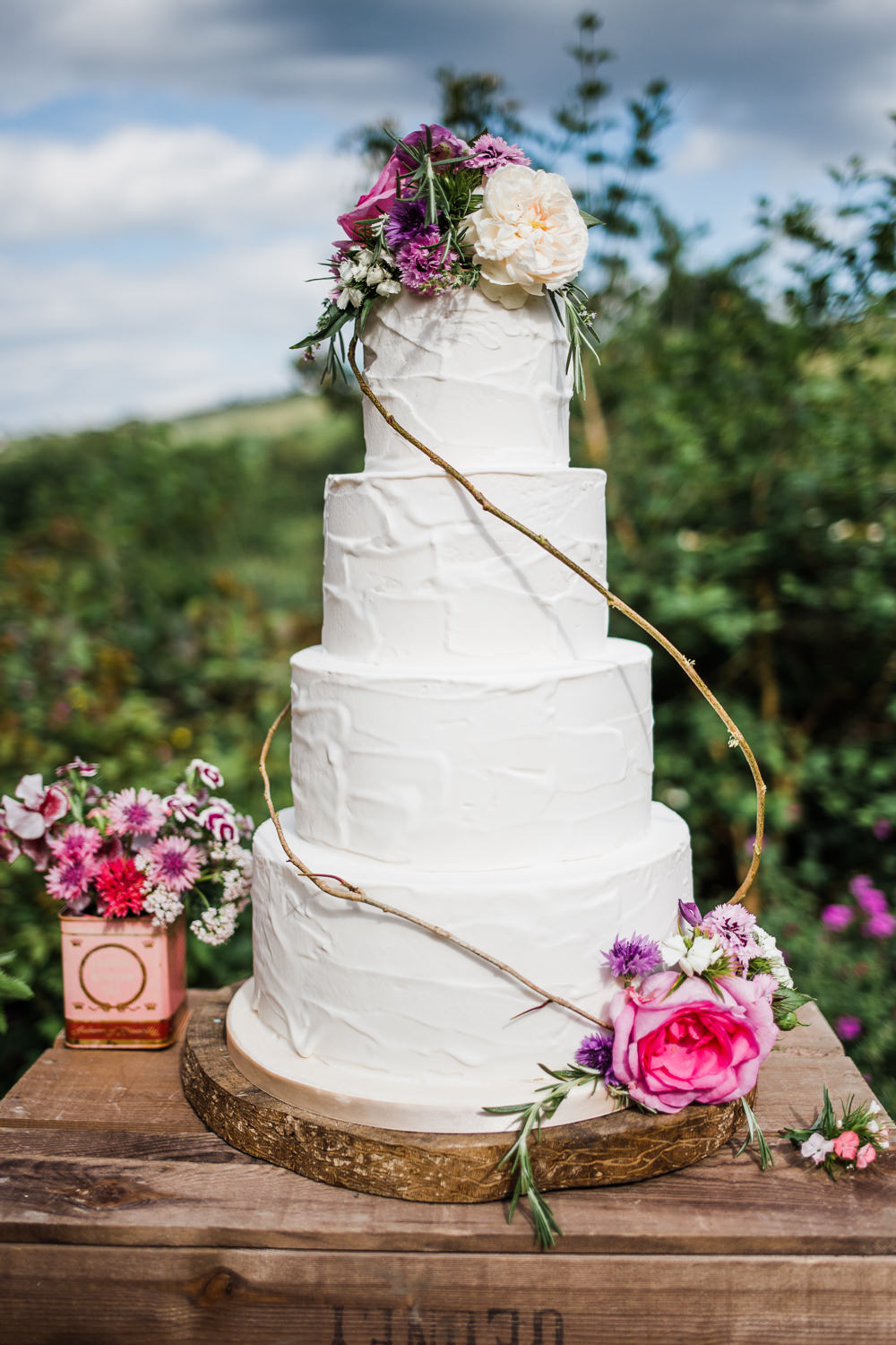 Buttercream Cake Rustic Flowers Colourful Bohemian Floral Wedding Ideas Anna Beth Photography