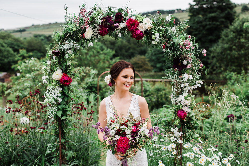 Flower Arch Ceremony Backdrop Wire Metal Colourful Bohemian Floral Wedding Ideas Anna Beth Photography