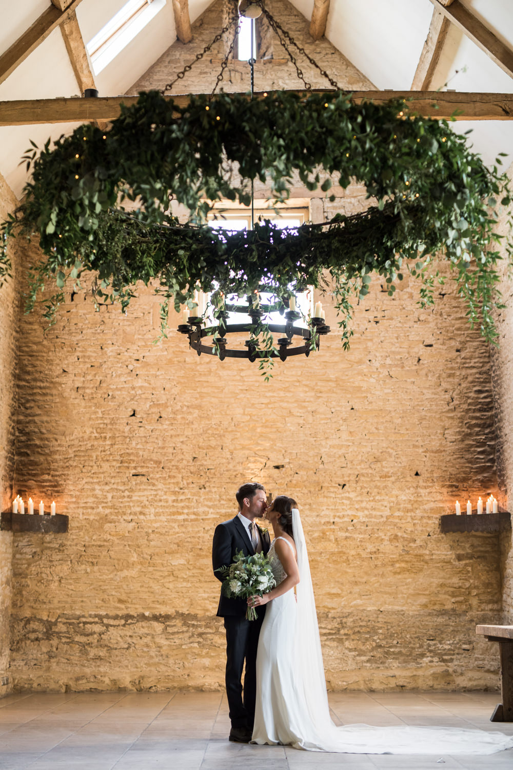 Bride Bridal Embellished Sequin Boat Neck Sleeveless Veil Bouquet Greenery White Reiss Waistcoat Groom Navy Greenery Chandelier Candles Elegant Chic Modern Wedding Kayleigh Pope Photography