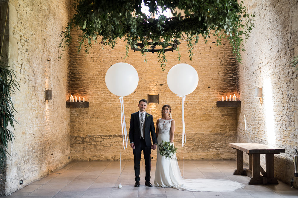 Bride Bridal Embellished Sequin Boat Neck Sleeveless Veil Bouquet Greenery White Reiss Waistcoat Groom Navy Giant Latex Balloon Greenery Chandelier Foliage Candles Elegant Chic Modern Wedding Kayleigh Pope Photography