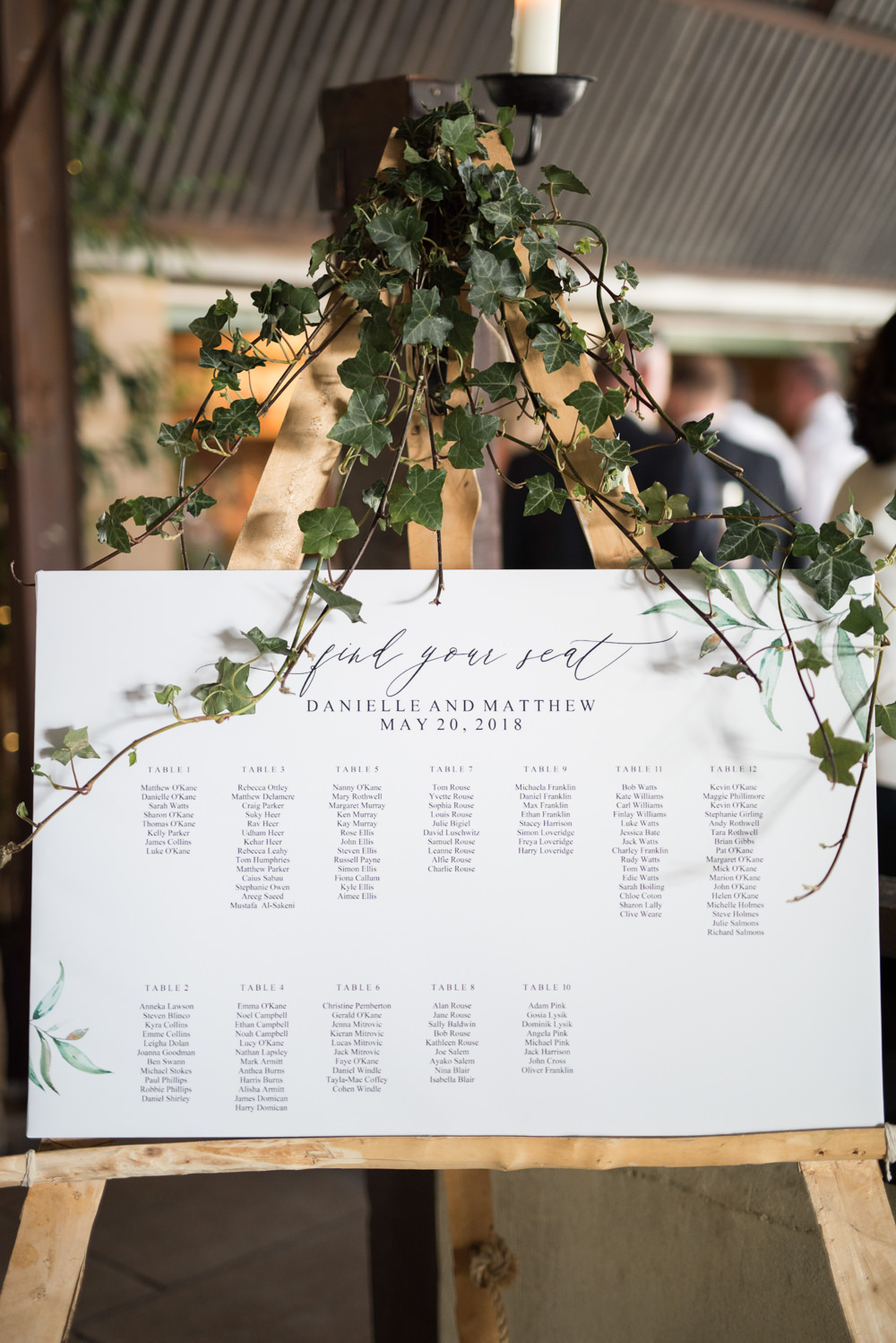 Table Plan Ivy Easel Calligraphy Elegant Chic Modern Wedding Kayleigh Pope Photography