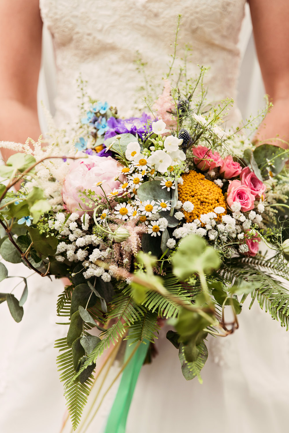 Bride Bridal Bouquet Wildflower Meadow Daisy Rose Peony Fern Wax Flowers Festival Wedding Mismatched Country Camilla Lucinda Photography