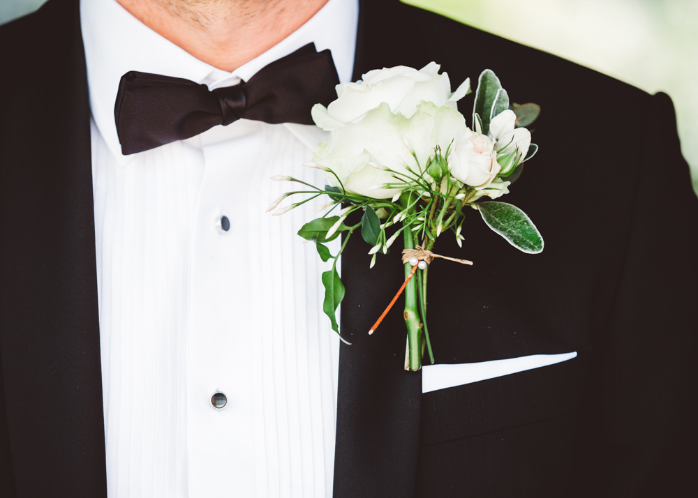 Groom Groomsmen Buttonhole Flowers White Rose Greenery George Rye Wedding Hollie Carlin Photography