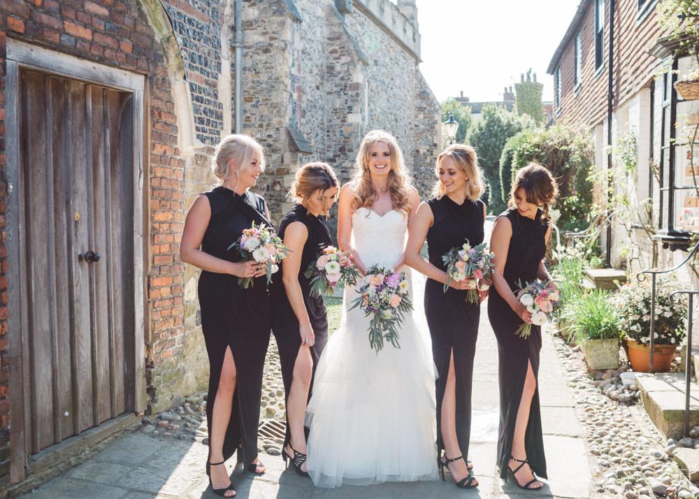 Long Black Maxi Dress Gown Bridesmaid Split George Rye Wedding Hollie Carlin Photography