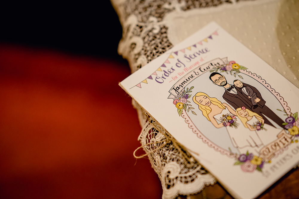 Stationery Order of Service Illustrated Heaton House Farm Wedding Steven Rooney Photography