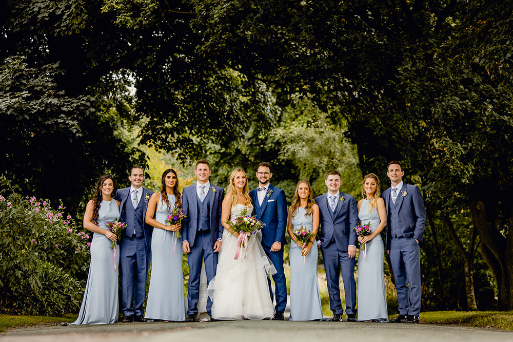 Bride Bridal Sweetheart Neckline A Line Layered Tulle Hugo Boss Waistcoat Blue Groom Pale Blue Bridesmaids Heaton House Farm Wedding Steven Rooney Photography
