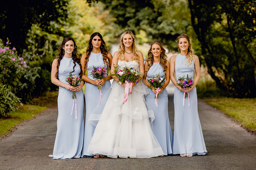 Bride Bridal Sweetheart Neckline A Line Layered Tulle Pale Blue Halterneck Bridesmaids Heaton House Farm Wedding Steven Rooney Photography