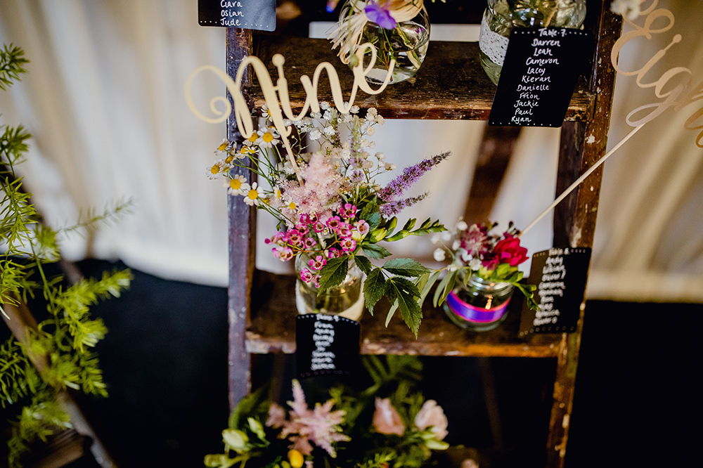 Table Plan Seating Chart Flowers Floral Jam Jars Laser Cut Numbers Blackboards Stepladder Heaton House Farm Wedding Steven Rooney Photography