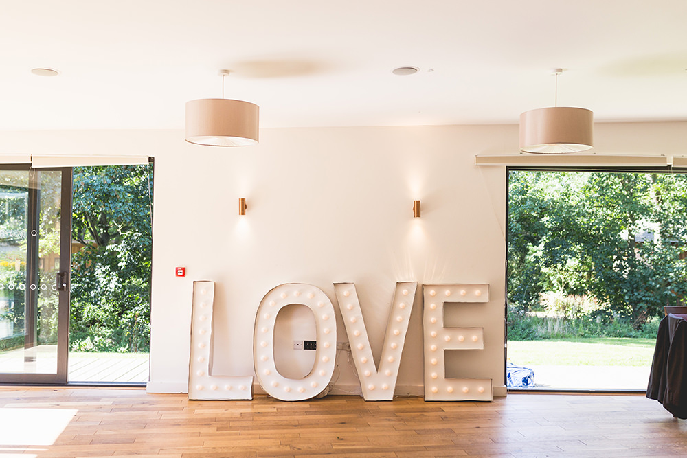LOVE Letter Lights Hothorpe Hall Woodlands Wedding Lucy Long Photography