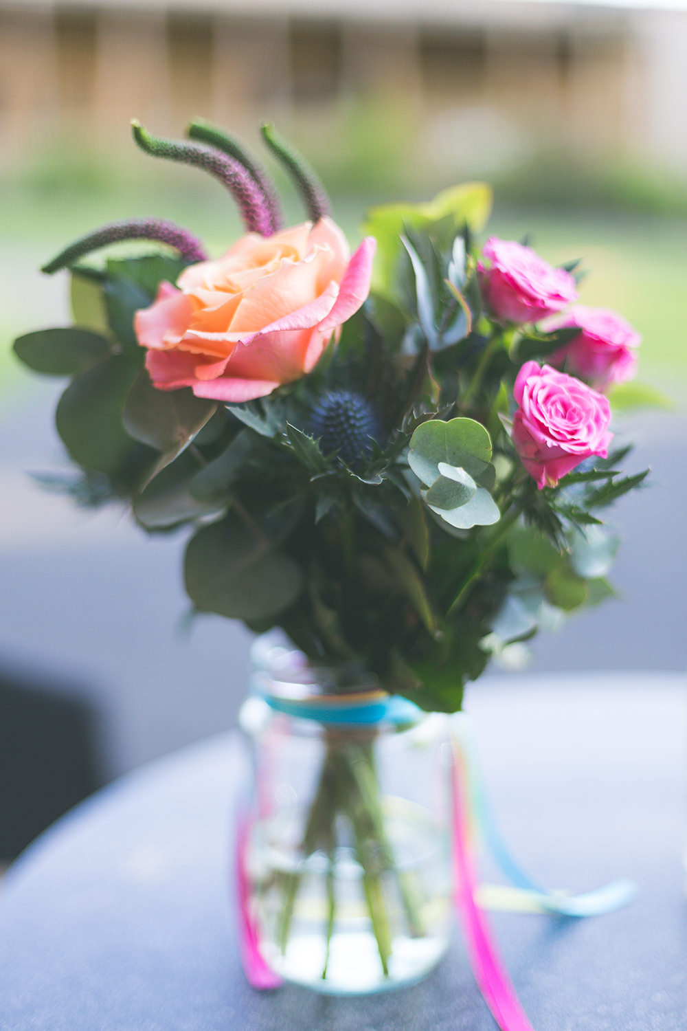 Flowers Jar Multi Colour Rose Pink Yellow Coral Purple Ribbons Hothorpe Hall Woodlands Wedding Lucy Long Photography