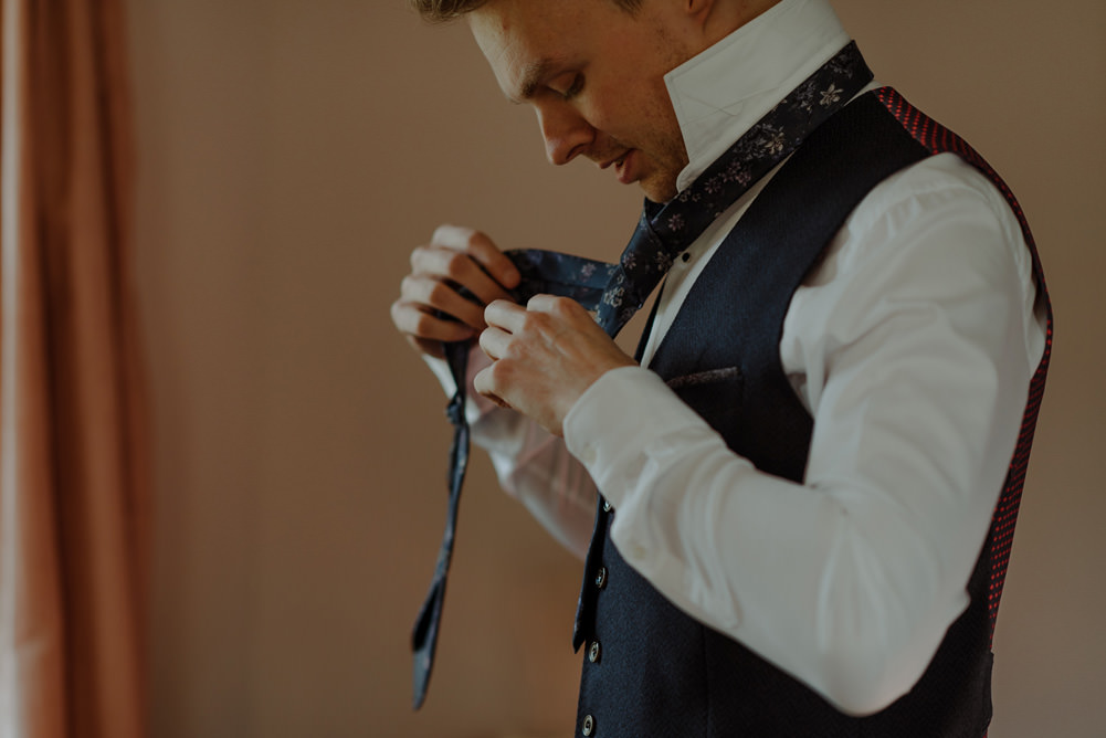 Forest Trees Castle Loch Blue Waistcoat Tie Groom Morning Prep | Intimate Winter Outdoor Scotland Wedding Christopher Ian Photography