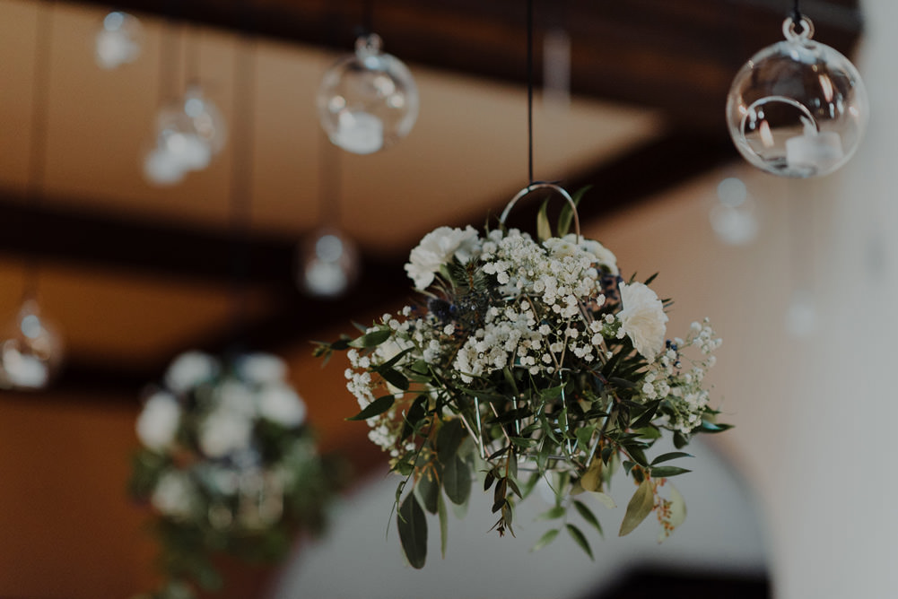Forest Trees Castle Loch Simple Decor Greenery Fairy Lights Garland Hanging Flowers White | Intimate Winter Outdoor Scotland Wedding Christopher Ian Photography
