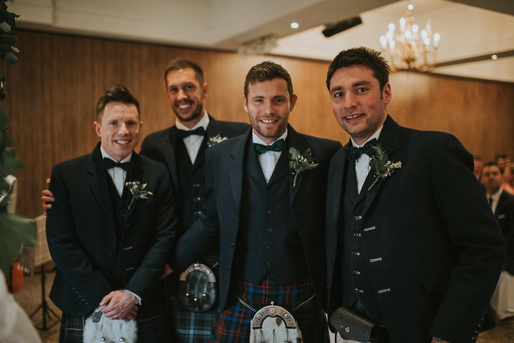 Groom Groomsmen Kilt Bow Tie Waistcoat Sporran Macdonald Houston Hotel Wedding Martin Venherm Photography