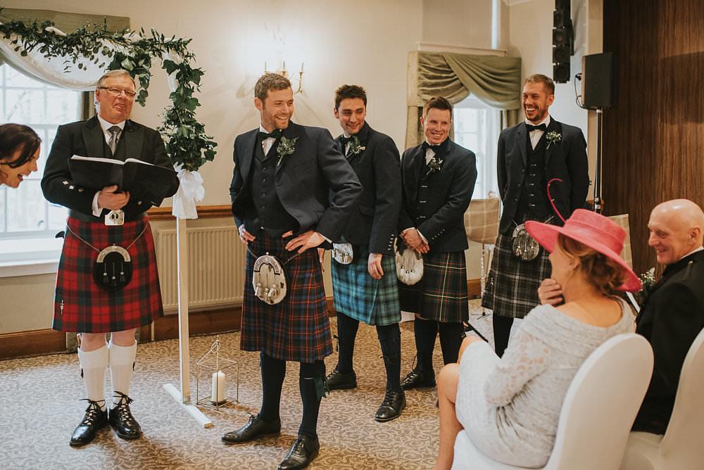 Groom Groomsmen Kilt Tartan Jacket Waistcoat Bow Tie Sporran Macdonald Houston Hotel Wedding Martin Venherm Photography