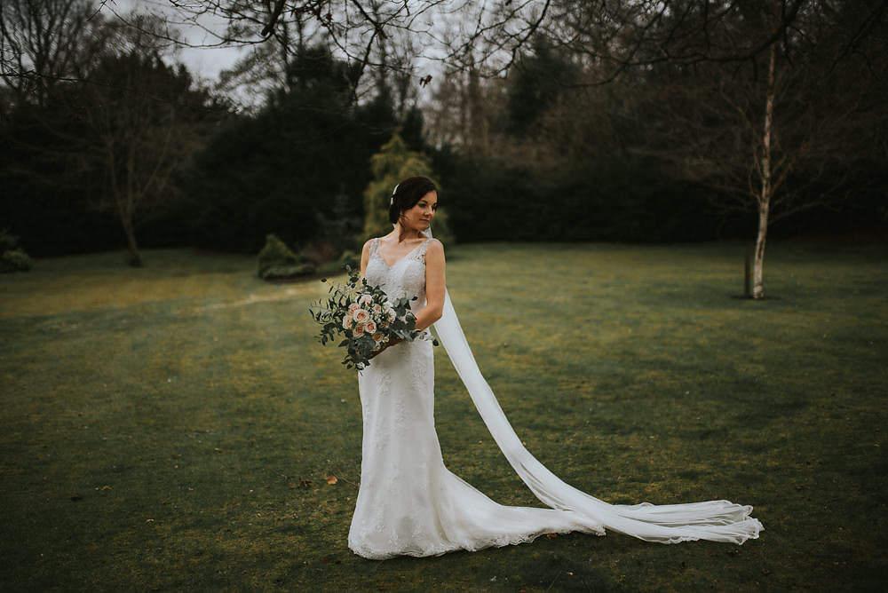 Bride Bridal Lace Sweetheart Neckline Straps Sleeveless Cathedral Veil Bouquet Eucalyptus Macdonald Houston Hotel Wedding Martin Venherm Photography