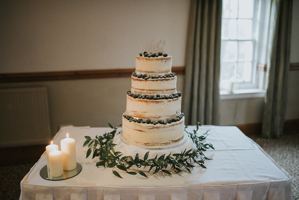 Naked Cake Tiered Berries Foliage Candles Laser Cut Wooden Cake Topper Macdonald Houston Hotel Wedding Martin Venherm Photography