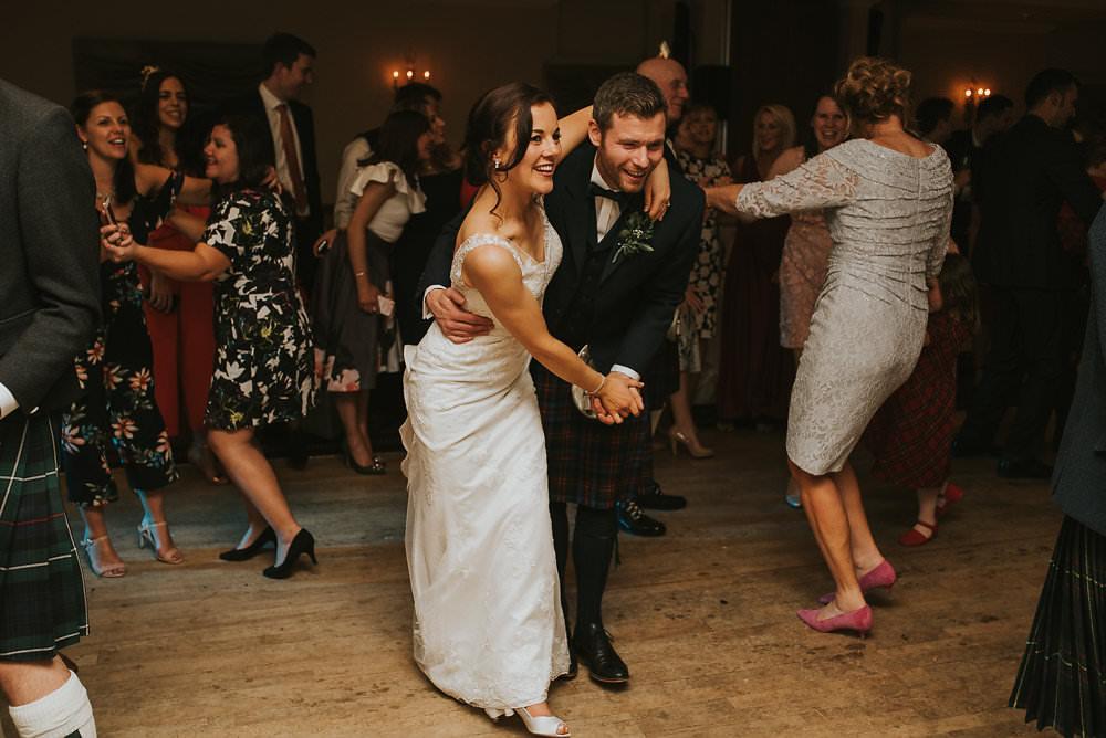 Bride Bridal Lace Sweetheart Neckline Straps Sleeveless Kilt Groom Bow Tie Macdonald Houston Hotel Wedding Martin Venherm Photography