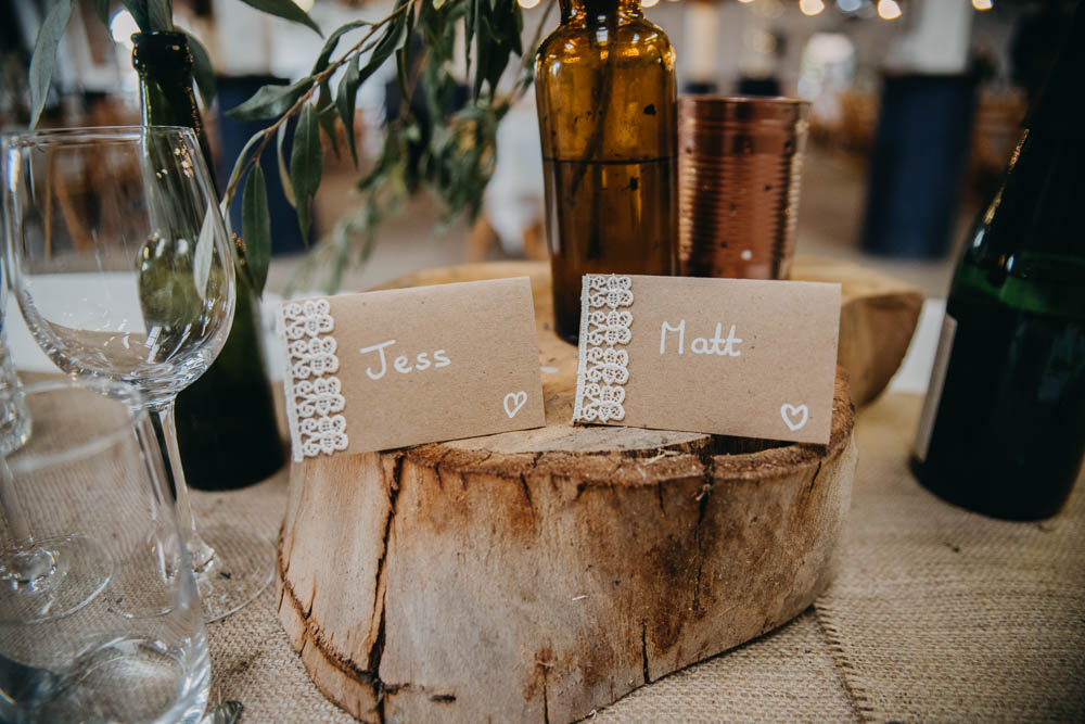 Wood Slice Crochet Place Name Card Hessian Rustic Table Setting Railway Barn Wedding Lottie Photography