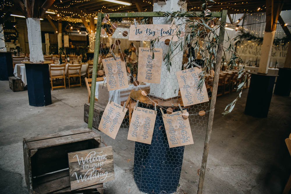 Chicken Wire Frame Table Plan Seating Chart Twine Peg Welcome Sign Wooden Crate Railway Barn Wedding Lottie Photography