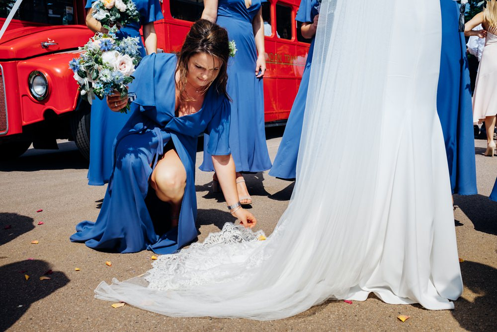 Blue Wrap Rewrritten Bridesmaids Dresses Hydrangea Tanner Warehouse Wedding Marianne Chua Photography