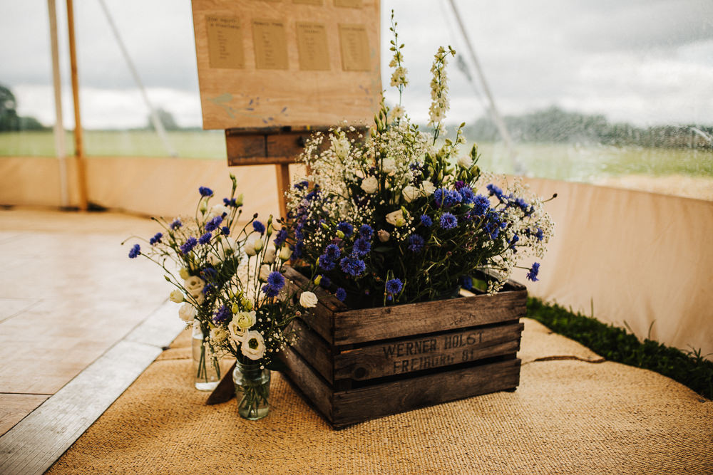 Wooden Crate Floral Flowers Blue Purple Gypsophila Table Plan Entrance Whimsical Countryside Sperry Tent Wedding Emilie May Photography