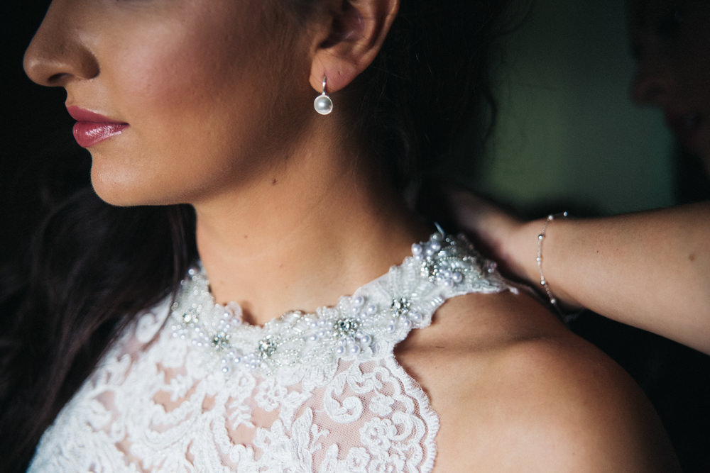 Bride Bridal Make Up Earrings Wray's Barn Whinstone View Wedding Sally T Photography