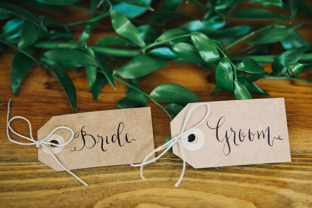 Kraft Brown Paper Greenery Twine Luggage Tag Place Name Wray's Barn Whinstone View Wedding Sally T Photography