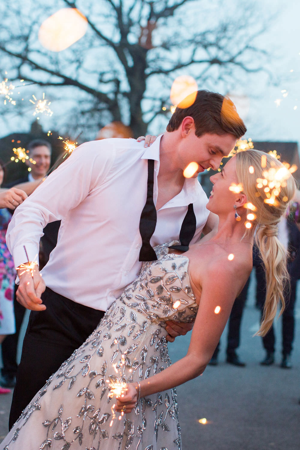 Sparkler Send Off Exit Kiss Highcliffe Castle Wedding Bowtie and Belle Photography