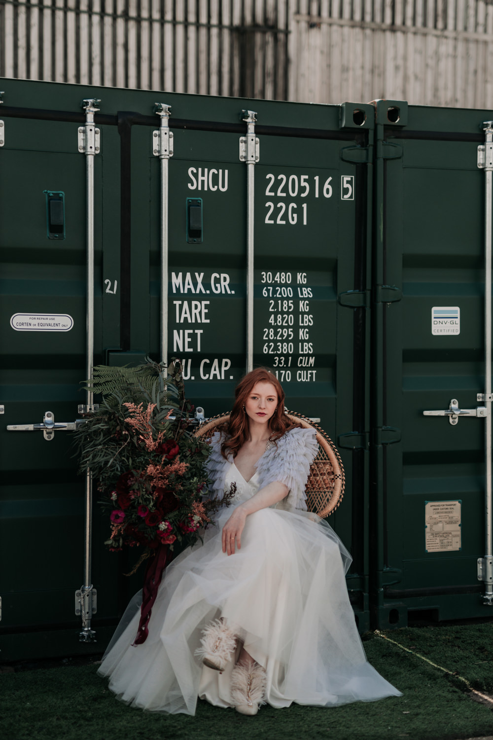 Bride Bridal Shoes Heels Feathers Industrial Luxe Wedding Ideas Balloon Installation Ayelle Photography