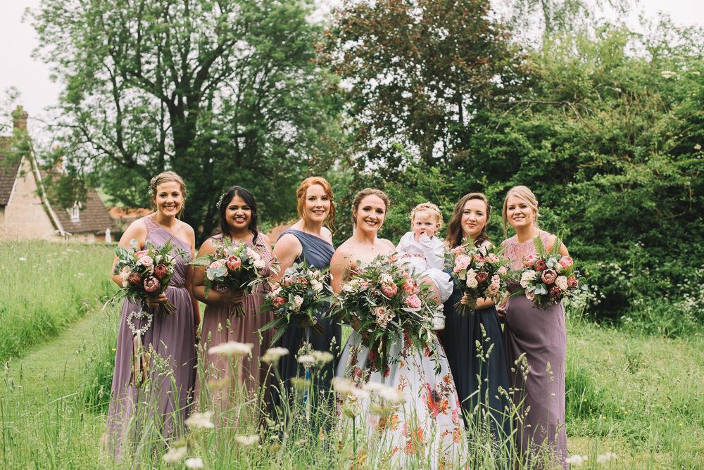 Mismatched Bridesmaid Dresses Long Maxi Bouquets Purple Blue Irnham Hall Wedding Lucie Watson Photography