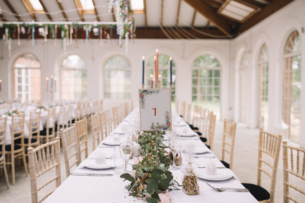 Table Number Garland Greenery Runner Swag Candles Decor Irnham Hall Wedding Lucie Watson Photography