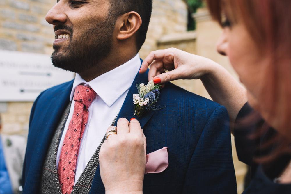 Buttonhole Flowers Groom Thistle Irnham Hall Wedding Lucie Watson Photography