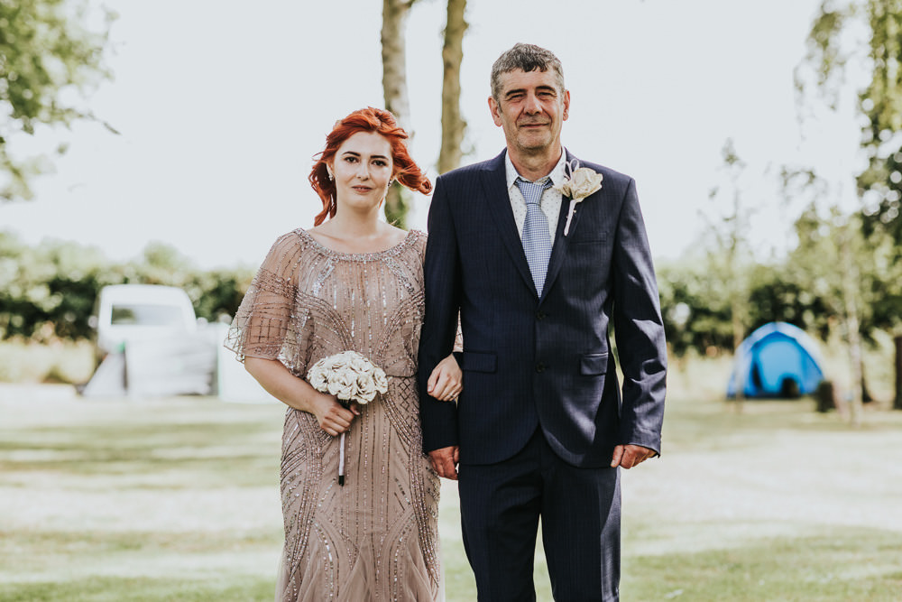 Keeper and The Dell Boho Farm Field Marquee DIY Alternative Rustic Outdoor Ceremony Bride Father Sequin Pink Dress Paper Rose Bouquet | Relaxed Outdoor Wedding with 1000 Rainbow Origami Cranes Dan Biggins Photography