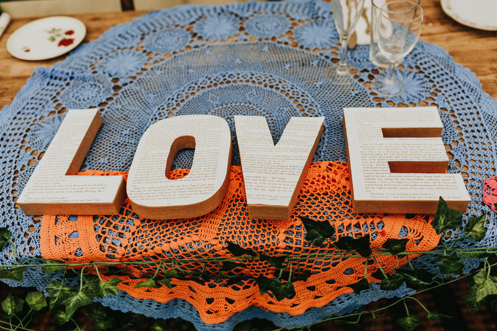 Keeper and The Dell Boho Farm Field Marquee DIY Alternative Love Paper Letters Faux Ivy Crochet | Relaxed Outdoor Wedding with 1000 Rainbow Origami Cranes Dan Biggins Photography