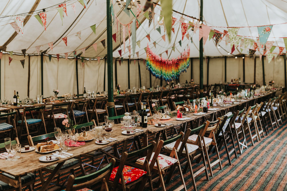 Keeper and The Dell Boho Farm Field Marquee DIY Alternative Rustic Reception Afternoon Tea Rainbow Origami Cranes Bunting | Relaxed Outdoor Wedding with 1000 Rainbow Origami Cranes Dan Biggins Photography