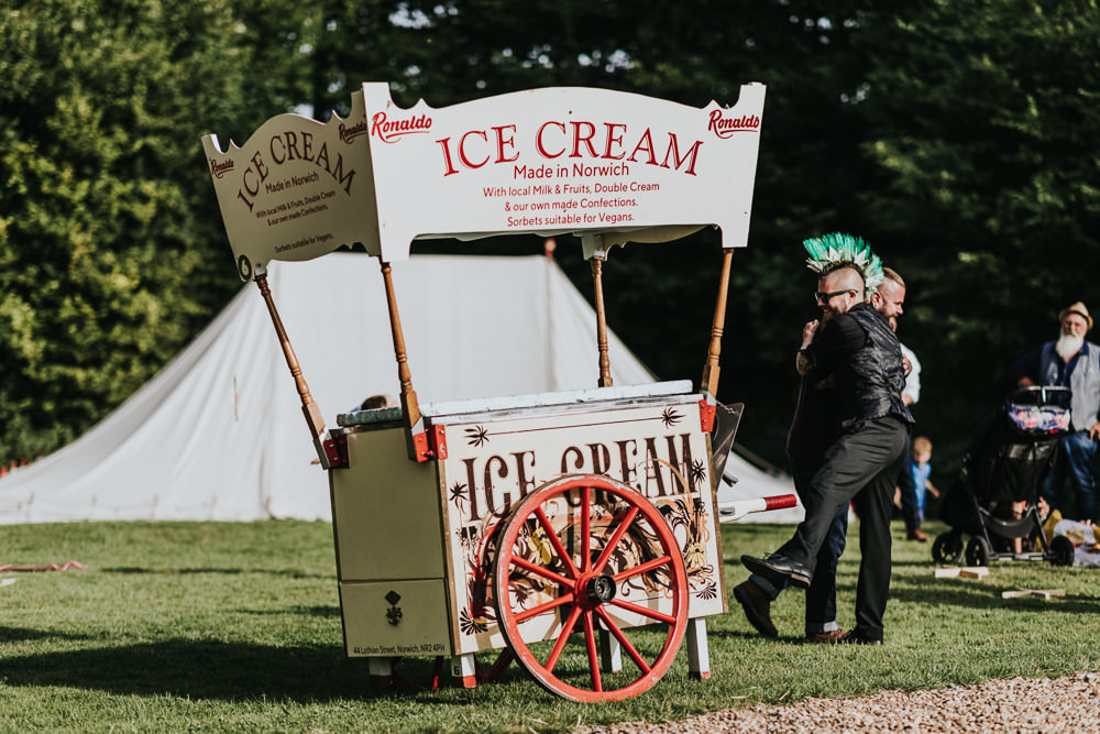 Keeper and The Dell Boho Farm Field Marquee DIY Alternative Rustic Ice Cream Van Cart Norfolk | Relaxed Outdoor Wedding with 1000 Rainbow Origami Cranes Dan Biggins Photography