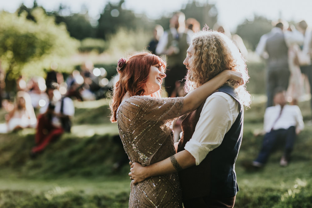 Keeper and The Dell Boho Farm Field Marquee DIY Alternative Bride Groom Pink Sequin Dress | Relaxed Outdoor Wedding with 1000 Rainbow Origami Cranes Dan Biggins Photography