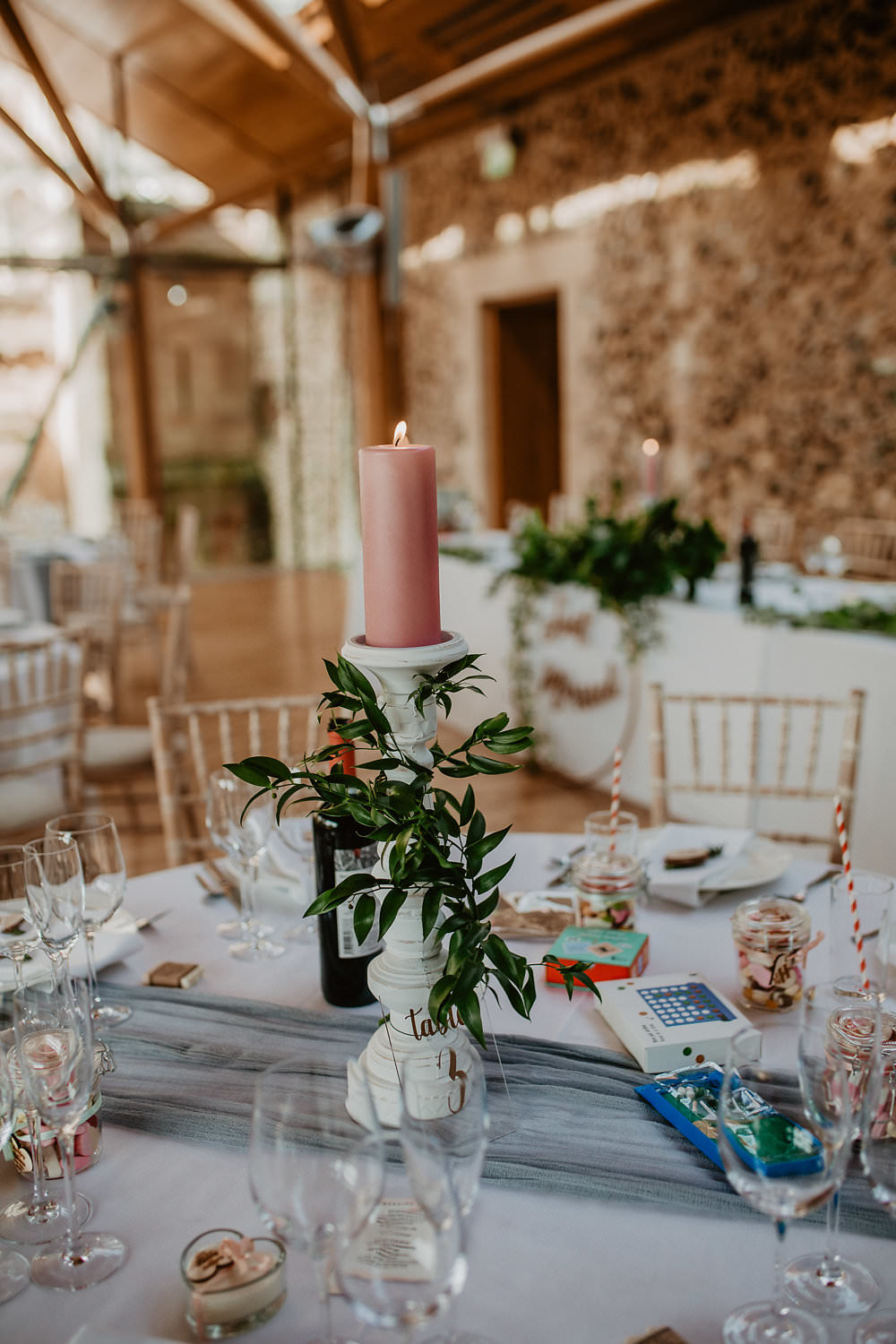 Centrepiece Table Candle Greenery Norwich Cathedral Wedding Camilla Andrea Photography