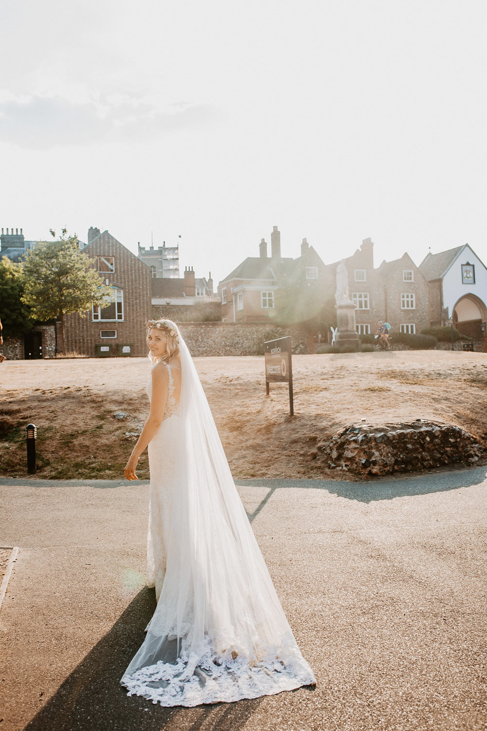 Bride Bridal Dress Gown Straps Lace Fit Flare Mori Lee Sheer Low Back Norwich Cathedral Wedding Camilla Andrea Photography